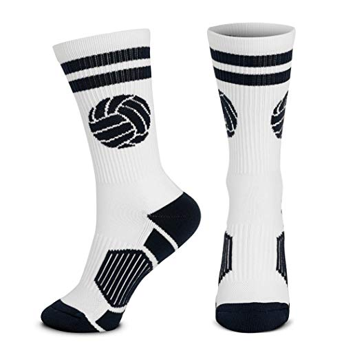 Volleyball Woven Mid-Calf Socks | Classic Ball | White & Black