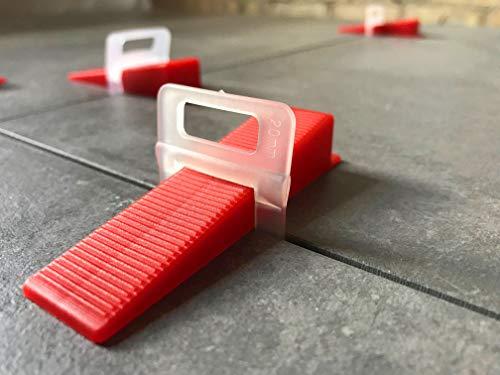 200 Laschen 100 Keile 2mm - Das GÜNSTIGE Fliesen Nivelliersystem 1mm-3mm - Zange Keile Zuglaschen individuell zusammenstellen - Mega-Auswahl an Variationen (200 Laschen 100 Keile, 2,0mm)