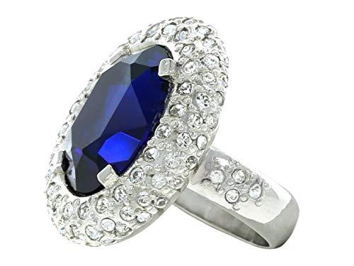 AZ Collection - Anillo de mujer Swarovski Kate Middleton Princesa Diana, circonita ovalada azul cristal