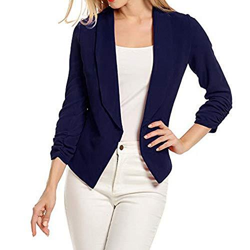 VECDY Damen Jacken,Räumungsverkauf- FrauBusiness Mantel Blazer Anzug Langarmshirts Slim Jacket Outwear Größe S-6XL Lässige warme Jacke (L, T-Marine)