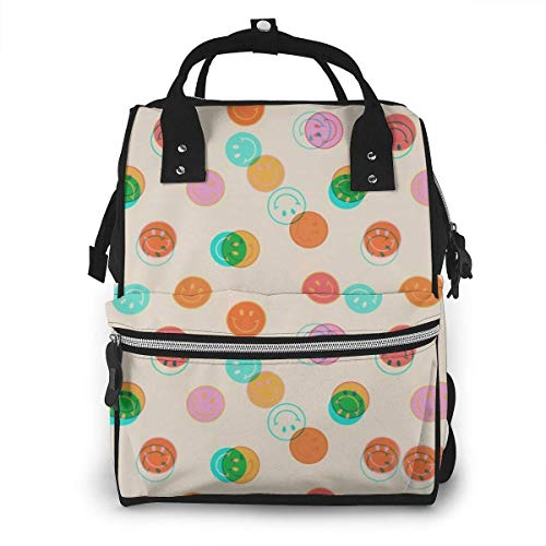 UUwant Sac à Dos à Couches pour Maman Large Capacity Diaper Backpack Travel Manager Baby Care Replacement Bag Nappy Bags Mummy Backpack,(Smile Face Stamp Print