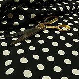 NEU Schwarz Weiß gepunktet Muster bedruckt Velours Samt