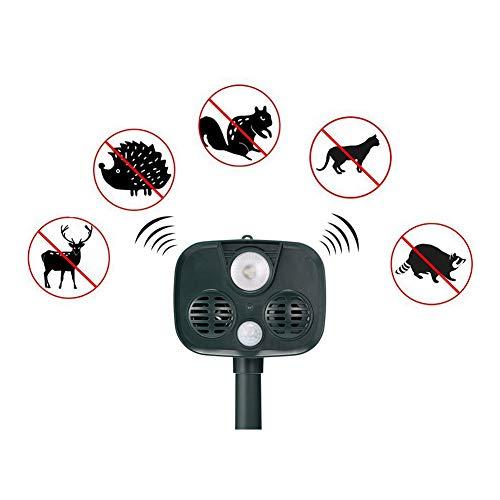 Ultrasone kattenafweermiddel voor buiten, IP67 waterdicht met 2 luidsprekers, Repels Deer Rabbit Squirrel Cat Dog etc voor Garden Yard Field Farm groen