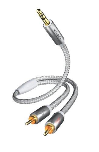 inakustik – 004100015 – Premium Klinkenadapter - 3,5mm Klinke -> 2 x RCA | Für den Anschluss von Smartphones, Tablets oder PC an HiFi-Verstärker | 1,5m in Weiß/Silber | 2-fache Abschirmung - moderner Geflechtschirm