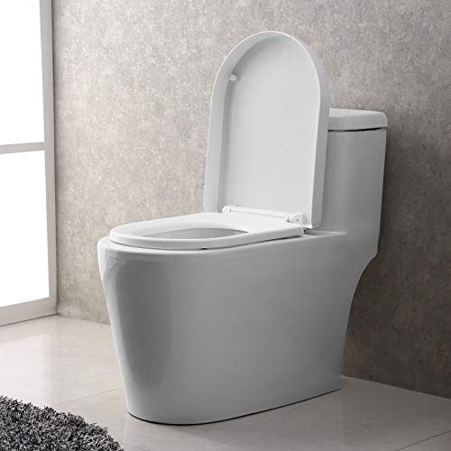 Mecor One-Piece Toilet Siphon Dual Flushing,Soft Closing Quick Release Seat