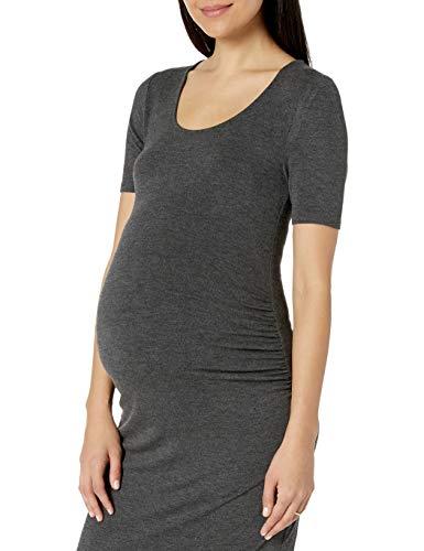 Amazon Essentials Maternity Short-Sleeve Dress Vestido, Carbón Mezcla, Cuadros Escoceses, L
