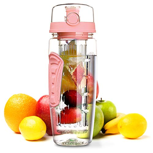 OMORC Fruit Infuser Water Bottle, 1L Leakproof Sport Water Bottle BPA Free Large Capacity with Cleaning Brush & Fruit Recipe for Outdoor Hiking Camping Climbing Traveling School Gift Office and Home