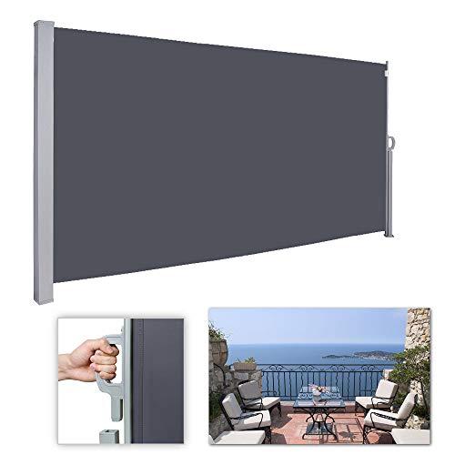 wolketon Seitenmarkise-180 x 300 cm Anthrazit TÜV,geprüft UV,Reißfestigkeit,seitlicher Sichtschutz sichtschutz,für Balkon Terrasse ausziehbare markise
