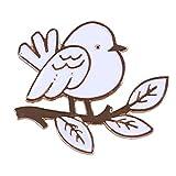 Kyoidy creativo encantador gota de aceite pequeño pájaro árbol hoja broche...