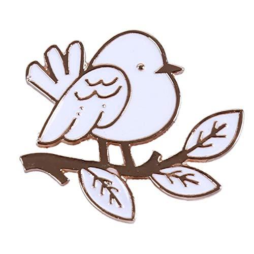 Kyoidy creativo encantador gota de aceite pequeño pájaro árbol hoja broche Pin Simple mujeres ramillete Collar Pin