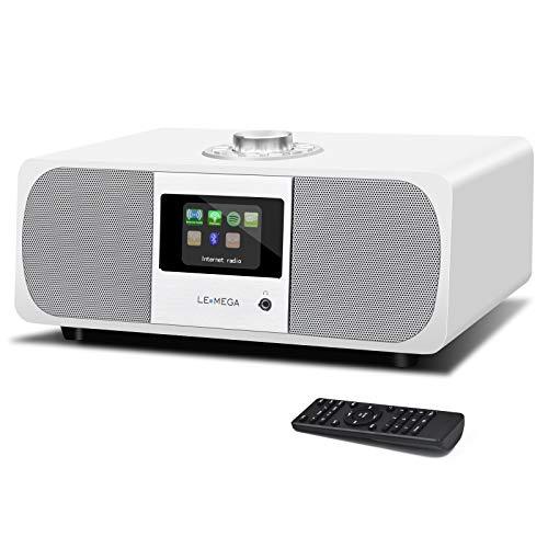 LEMEGA M3+ Smart Music System (Estéreo 2.1) con Wi-Fi Radio por Internet,Spotify Bluetooth DLNA Dab+ FM Radio, Alarmas, Ajustes Preestablecidos Y Control De Aplicaciones Inalámbricas -Blanco Satinado