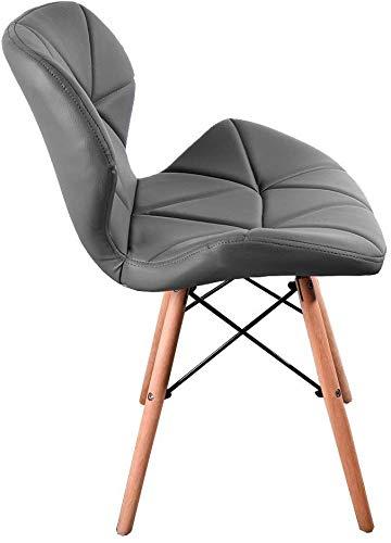 4 sillas de cuero de la PU de la silla retro, sillas de oficina heurística restaurante salón, BKF espalda,Grey
