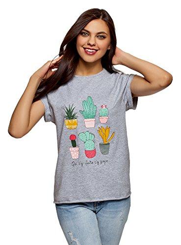 oodji Ultra Mujer Camiseta con Estampado de Verano y Parte Inferior no Elaborada, Gris, ES 36 / XS