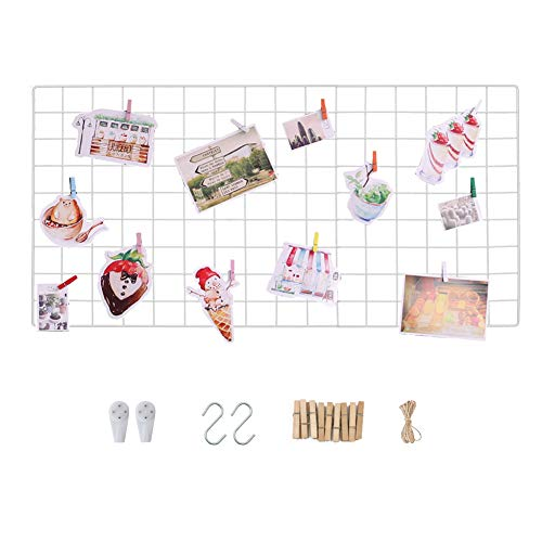 Wall Grid Photo Display Panel, Wall Hanging Metal Wire Pictures Cards and Memo Sheets Holder, Multifunction Mesh Board for Home and Office Decoration, Storage, File Organizer (White, 17.7' x 37.4')