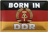 Deko7 Blechschild 30 x 20 cm Deutschland Fahne - Born in DDR