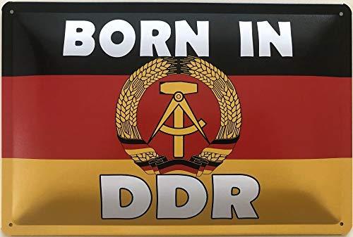 Deko7 blikken bord 30 x 20 cm Duitsland vlag - Born in DDR