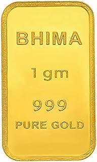 Bhima Jewellers 24k (999) Pure Gold Bar 1gm