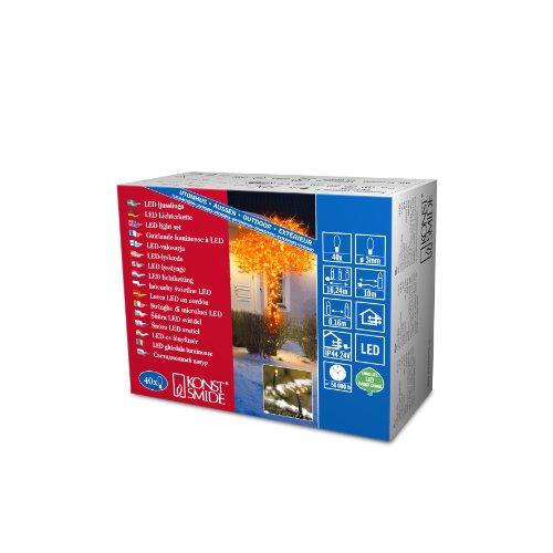 Konstsmide 3610-850 Micro LED Lichterkette / für Außen (IP44) / 24V Außentrafo / 40 orange Dioden / schwarzes Kabel