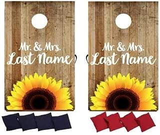 VictoryStore Custom Wedding Bag Toss Game – Custom Wedding Cornhole - Mr. and Mrs. Cornhole Sunflower