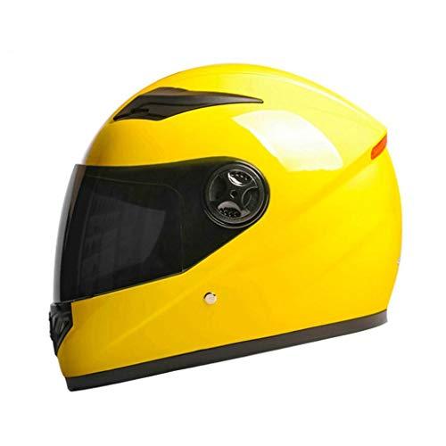 Elektro-Motorradhelm für Herren, Four Seasons Universal Vollcovering Autobatterie für Frauen Winter Warm Schal Gesichtscreme Sonnenschutz Fahrrad Transparent (Farbe: Gelb, Größe: B)