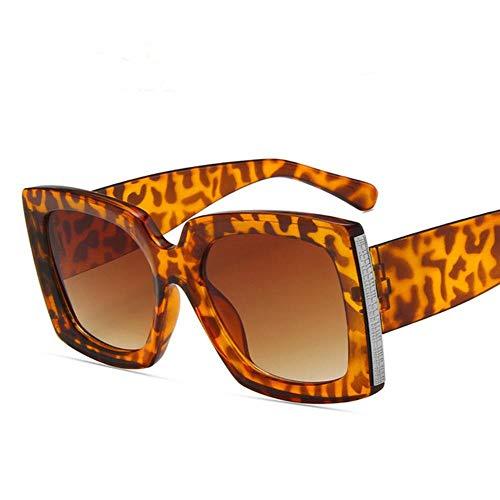 UKKD Gafas de sol Gafas De Sol Cuadradas Negras Mujeres Gran Marco Moda Retro Espejo Sol Gafas Mujer Vintage Dama-Leopard Print Tea