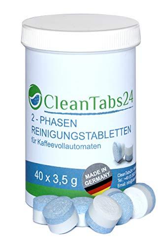 Reinigungstabletten für Kaffeevollautomaten 2-Phasen Tablette 40x3,5g von CleanTabs24 geeignet für Jura, Siemens, Krups, Bosch, Miele, Melitta, WMF uvm.