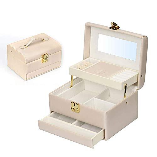 Snh0216 Artículo de almacenamiento Blanco Multi-capa PU Jewelry Box Pendientes Anillo Collar Pulsera Almacenamiento Cosmética Caja de Cosmética Cumpleaños Regalo Regalo Mirado Espejo Exquisito Portáti