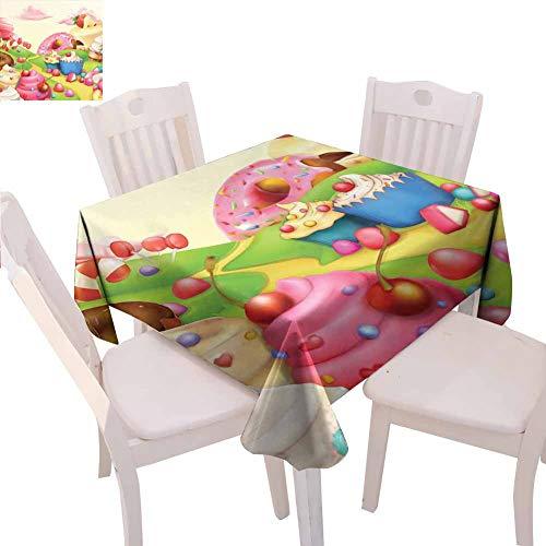 Moderna tovaglia quadrata interna Yummy Donuts Sweet Land Cupcakes Gelato Cotone Candy Nuvole Bambini Nursery Design Uso quotidiano, 177,8 x 177,8 cm Multicolore