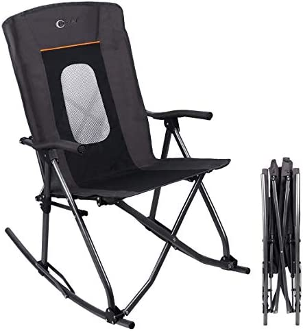 Best PORTAL Oversized Quad Folding Camping Rocking Chair High Back Hard Armrest Carry Bag Included, Suppo