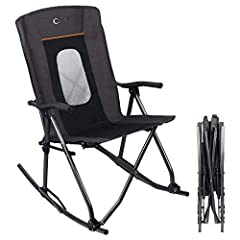 """SPACE SAVING - X-shaped frame makes folding size smaller than regular folding rocking chair. Folded Dimensions: 7""""(L) x 7""""(W) x 40""""(H). Easy to transport to any places and store away when not in use SAFE ROCKING MOTION - Safety latch locks rocker in ..."""