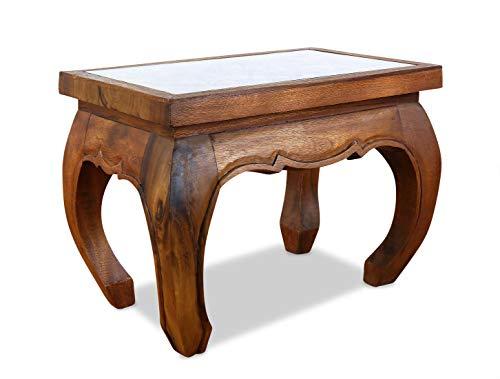 livasia Opiumtisch in Braun mit Elefantenschnitzerei | Asiatischer Beistelltisch | Couchtisch aus Massivholz | Asiatischer Holztisch der Marke Asia Wohnstudio