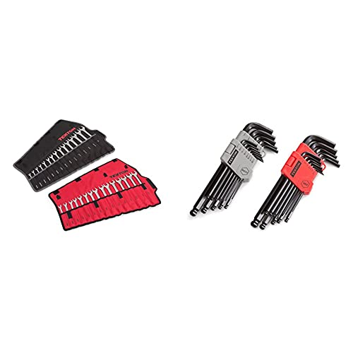 TEKTON Combination Wrench Set, 30-Piece (1/4-1 in., 8-22 mm) - Pouch   90192 & Ball End Hex Key Wrench Set, 26-Piece (3/64-3/8 in., 1.27-10 mm)   25282