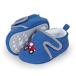 Sterntaler Baby-Krabbelschuhe für Jungen, Rutschfeste Sohle, Traktor-Motiv, Farbe: Kobaltblau, Größe: 19/20, Art.Nr.: 2302160.0