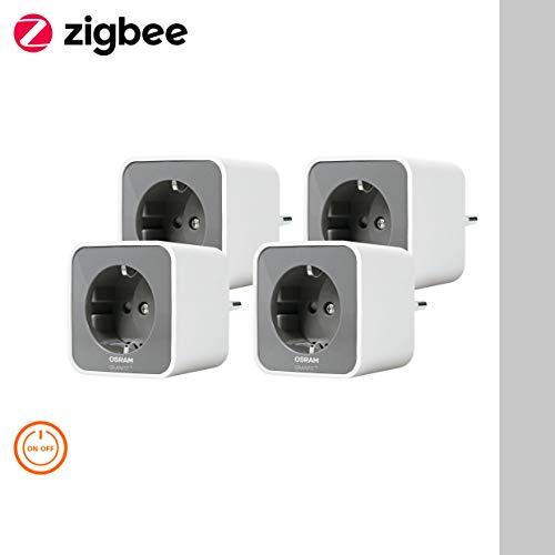 OSRAM Smart+ Lot de 4 Prises Connectées   Blanc/Gris   Pilotable avec Amazon Alexa via une passerelle Zigbee