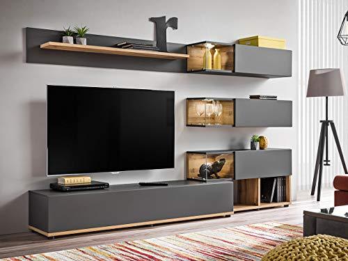 Wohnwand – Graue, elegante Anbauwand mit LED kaufen  Bild 1*