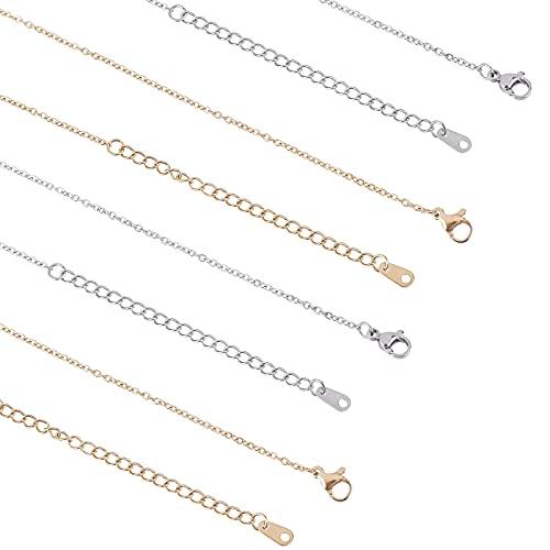 UNICRAFTALE 12pcs 2 Colores 44cm Collar de Cadena de Cable de Acero Inoxidable con Cierres de Garra de Langosta, Metal Unisex Estilo Casual Collares de Cadena Conjuntos de Collares de Cadena