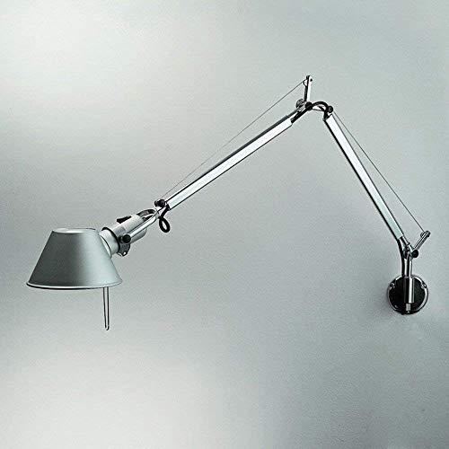 Rishx Verstellbare lange Schwenkarm-Wandlampen, die modernes minimalistisches Metall E27 an der Wand befestigte Arbeitslampe Studie-Schlafzimmer-Wohnzimmer-Lesewandlicht beleuchten (Color : Silver)