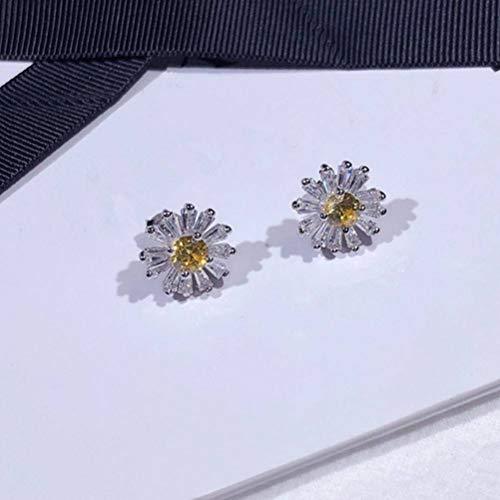 Haga Coincidir Todos Los Aretes de Margaritas de Diamantes Amarillos Tendencia de Estilo Coreano Lindo S925 Pendientes de Plata Esterlina para Mujer Joyas de Plata, WOZUIMEI, Como se muestra