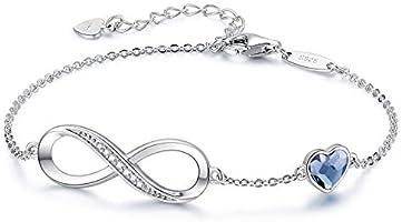 Infinity Bracelets for Womens Jewellery 925 Sterling Silver Bracelet ladies Love Heart Bracelets Birthday Anniversary...
