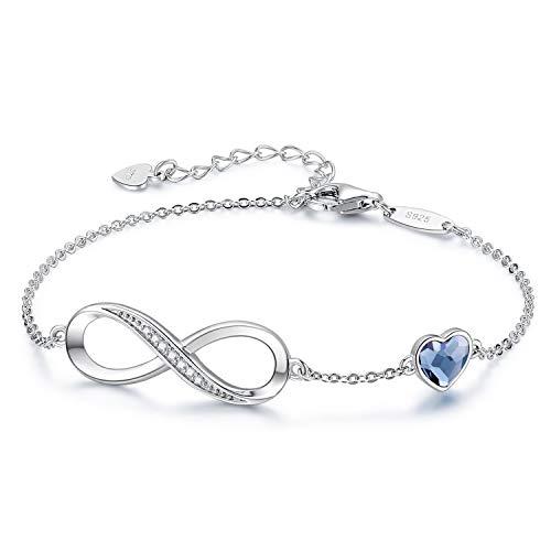 Infinity Armband Damen 925 Sterling Silber Rosegold, Unendlichkeit Herz Symbol Armbänder Funkelnden Kristallen Verstellbar Armkette Valentinstag Muttertag Geburtstagsgeschenk für Frauen Ehefrau mama