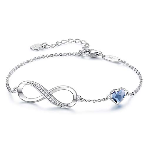 CDE Infinity Heart Symbol Charm Bracelet for Women 925 Sterling Silver Adjustable Valentine's Day Jewelry Gift Birthday Gift for Mom Women Wife Girls Her