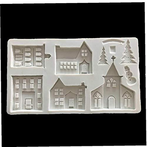 Amoyer Weihnachten Lebkuchen-Haus-Silikon-Form-Fondant-Form-Kuchen, die Werkzeuge Schokolade Zuckermasse Sugarküchenhelfer
