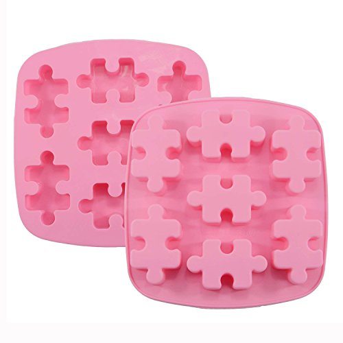 HINMAY Puzzle Piece Mold Silicone Puzzle Crayons Maker, Set of 2