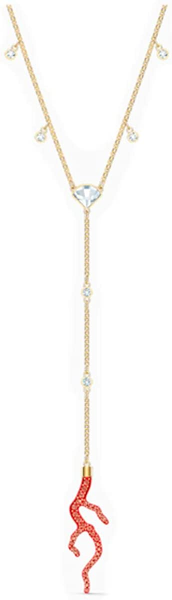 SWAROVSKI Authentic Shell Y Necklace, Red Crystal, Gold Plated
