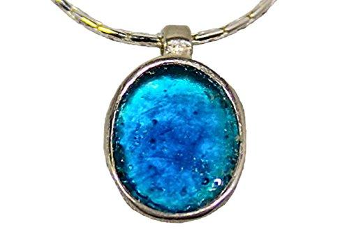 Edel Silber Sterling Halskette mit Anhang im Mittelmeerblau | schlicht | Antik-römisches Glas 2000 Jahre alt | Kunsthandwerk extraordinaire by Niibuhr Jewelry