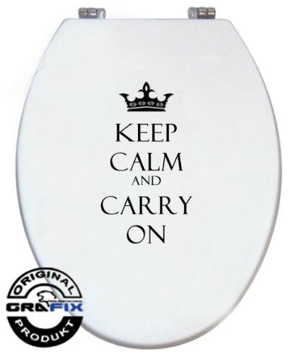 Sticker toiletdeksel contourgesneden - houdt kalm and carry on spreuk