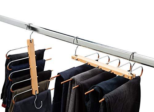 2 Stück Hosenbügel Platzsparend Mehrfach - 5 in 1 Hosen Kleiderbügel aus Holz und Edelstahl Ausziehbar - Faltbare Multi Bügel - Kleiderbügelhalter - Magic Pant Hangers