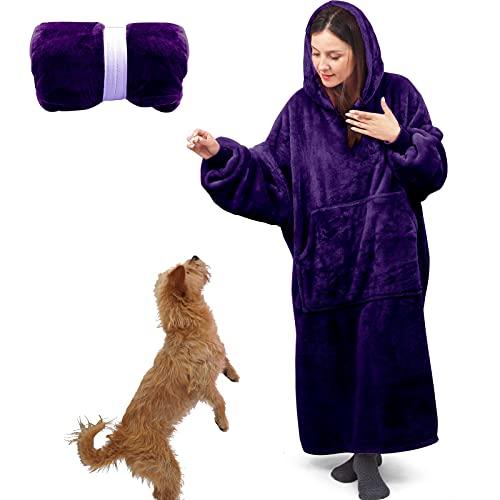 Blanket Sweatshirt Blanket Hoodie Wearable Blanket Women, Super Warm Blanket Women and Men, Lengthened Oversized Hoodie Blanket, Oversized Hooded Blanket with Sleeves and Giant Pocket - Purple