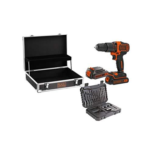 Black Decker BDCHD18B2FC - Kit de atornillador de percusión, 18 V, 2 baterías y 32 accesorios