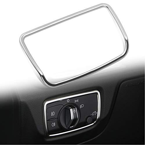 Super11Six Scheinwerfer Schalter Rahmen Dekorations Aufkleber Passend Für A3 8V 2013-2019, Scheinwerferschalter Blende Button Overlay Edelstahl,Chrome